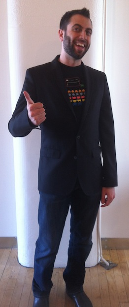 Groomed hair and beard, space invaders shirt, blazer and nice shoes: Geek From The Future
